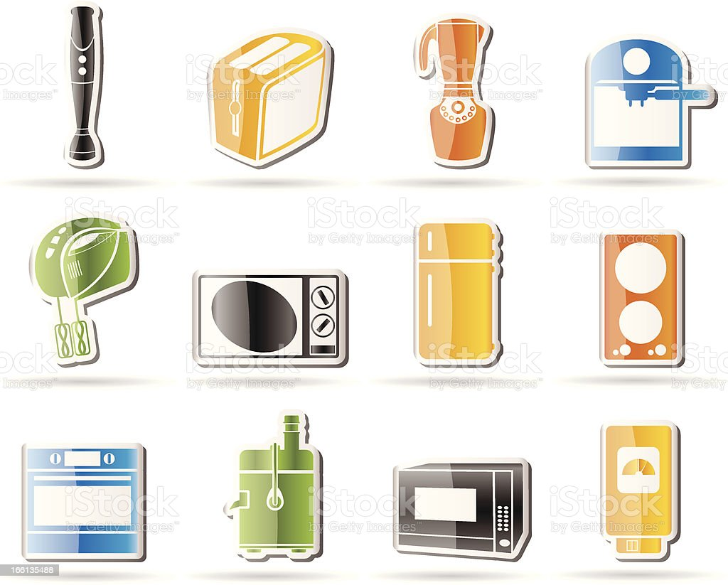 Kitchen and home equipment icons royalty-free stock vector art
