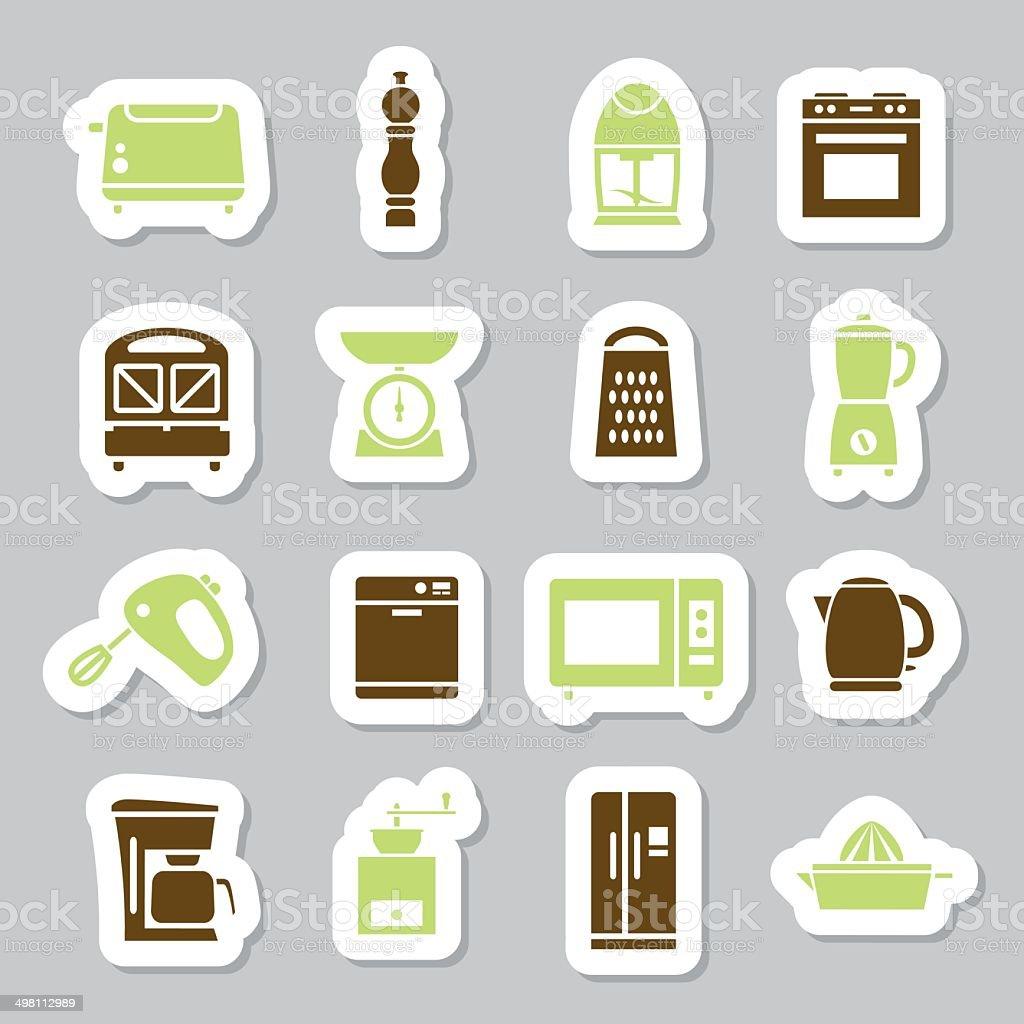 kitchen appliance icons vector art illustration