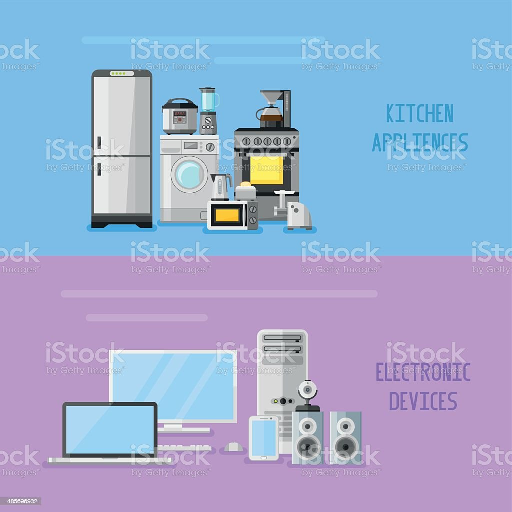 Kitchen Appliances On Credit Kitchen Appliances And Electronic Devices Horizontal Banners Stock