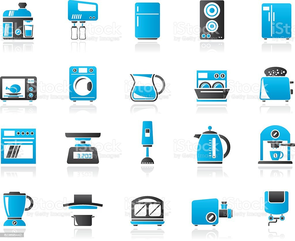 Kitchen Appliances On Credit Kitchen Appliances And Kitchenware Icons Stock Vector Art
