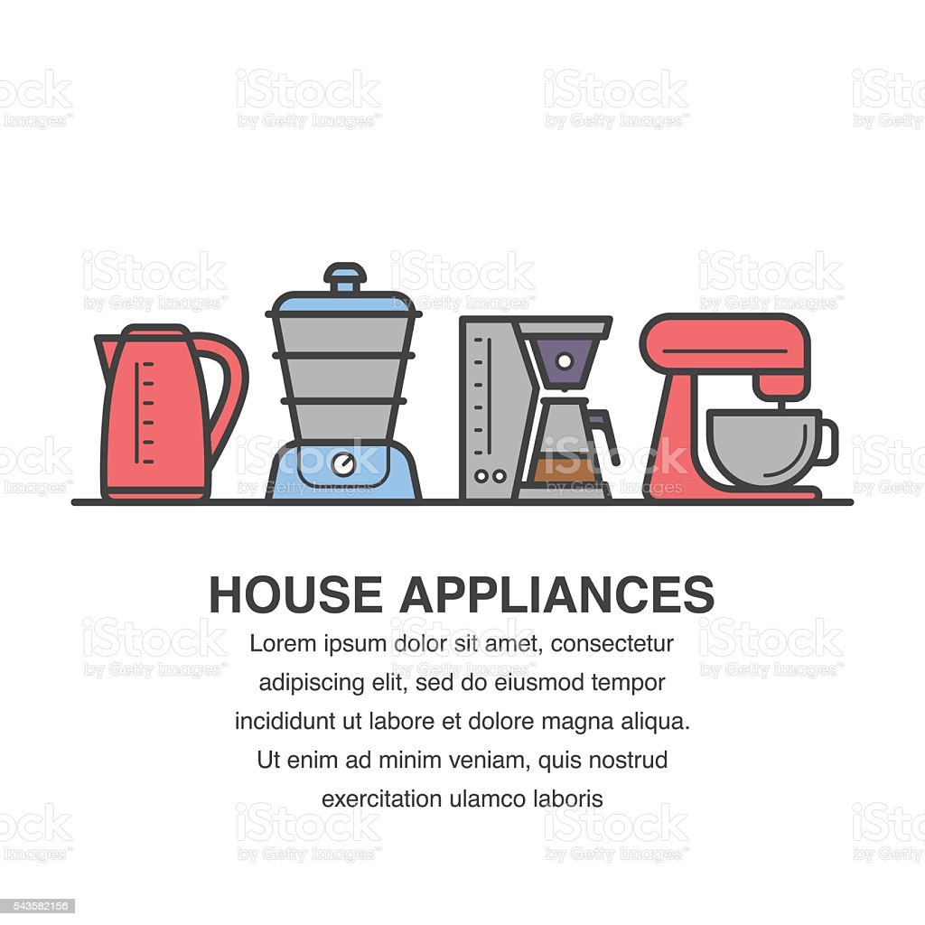 Uncategorized Kitchen Appliances On Credit kitchen appliances banner with kettle steamer mixer icons stock royalty free vector