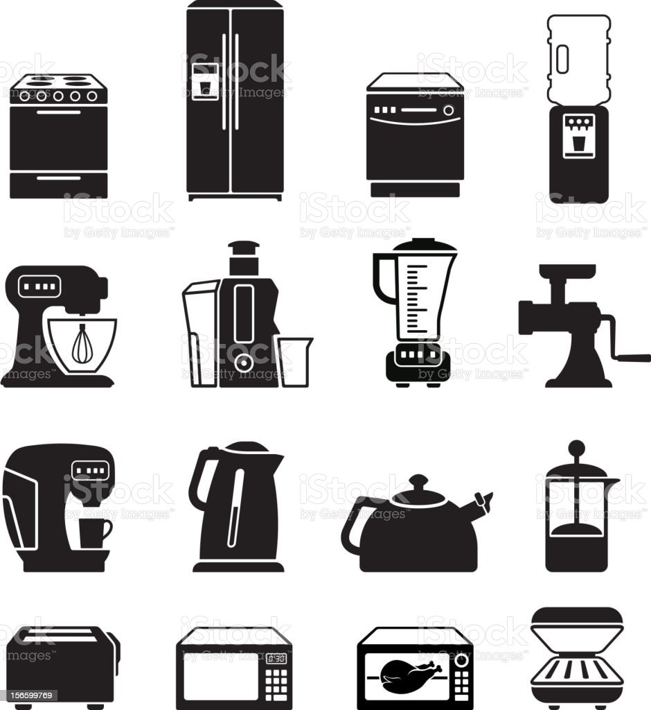 Kitchen appliances black & white royalty free vector icon set vector art illustration