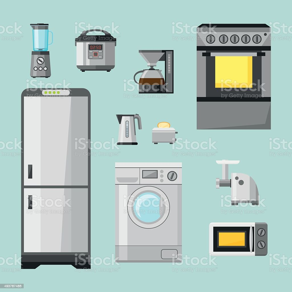 Kitchen Appliances On Credit Kitchen Appliances Flat Icons Set Set Of Cooking Elements Stock