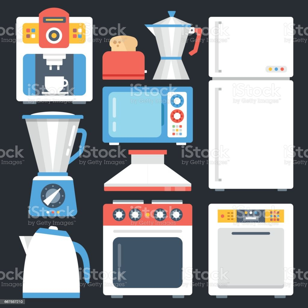 Kitchen Appliances On Credit Kitchen Appliances Household Home Appliances Set Modern Flat Icons