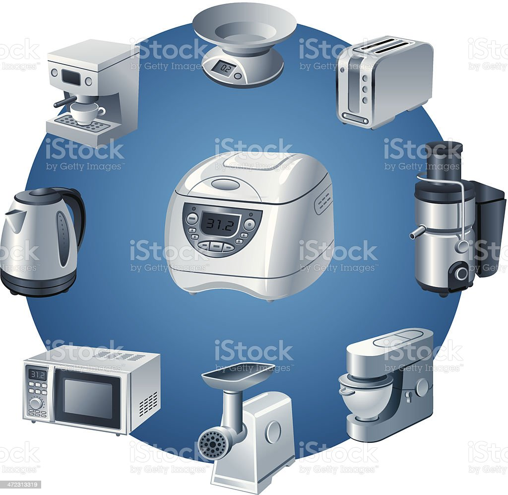 kitchen appliances icon set royalty-free stock vector art