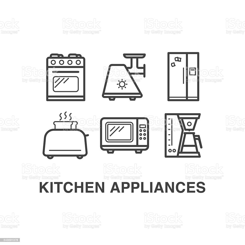 Kitchen Appliances On Credit Kitchen Appliances Icons Set 1 Stock Vector Art 543591378 Istock