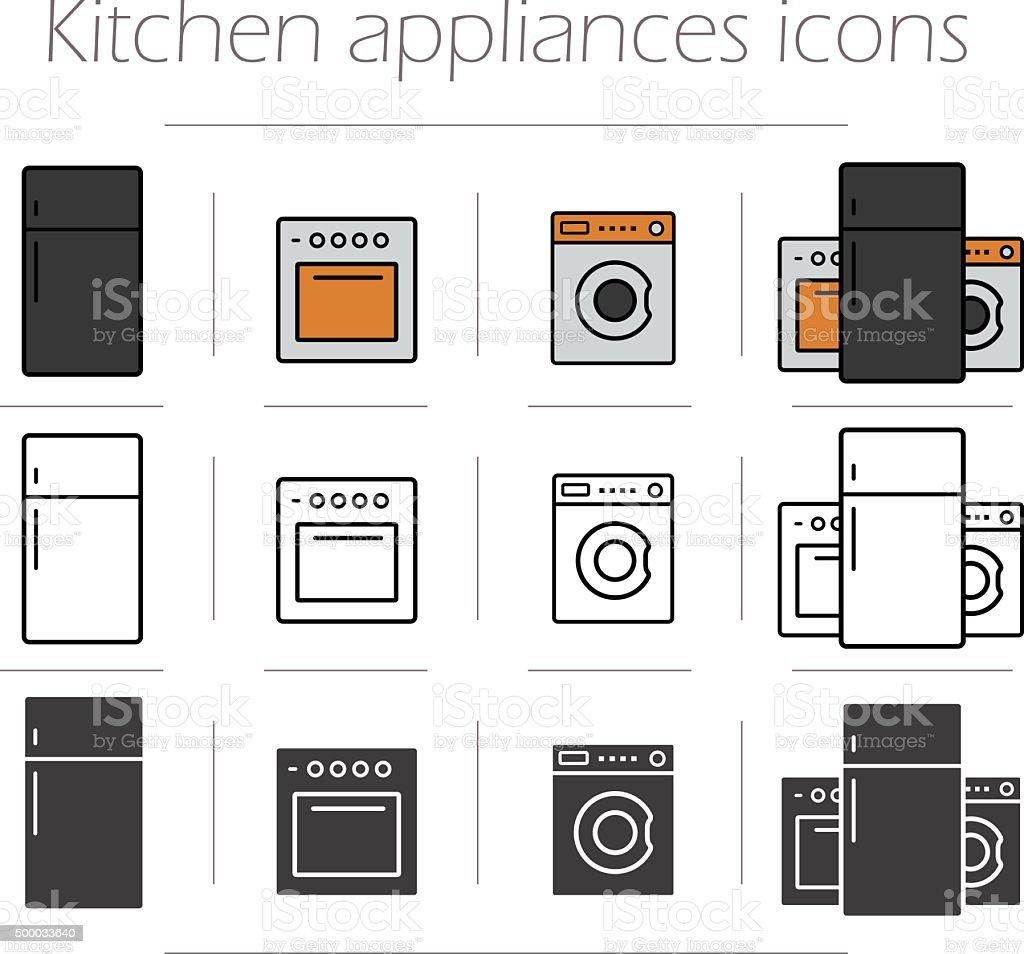 Kitchen appliances icons set vector art illustration