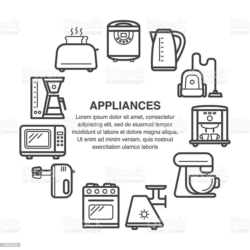Uncategorized Kitchen Appliances On Credit kitchen appliances in a circle composition stock vector art royalty free art