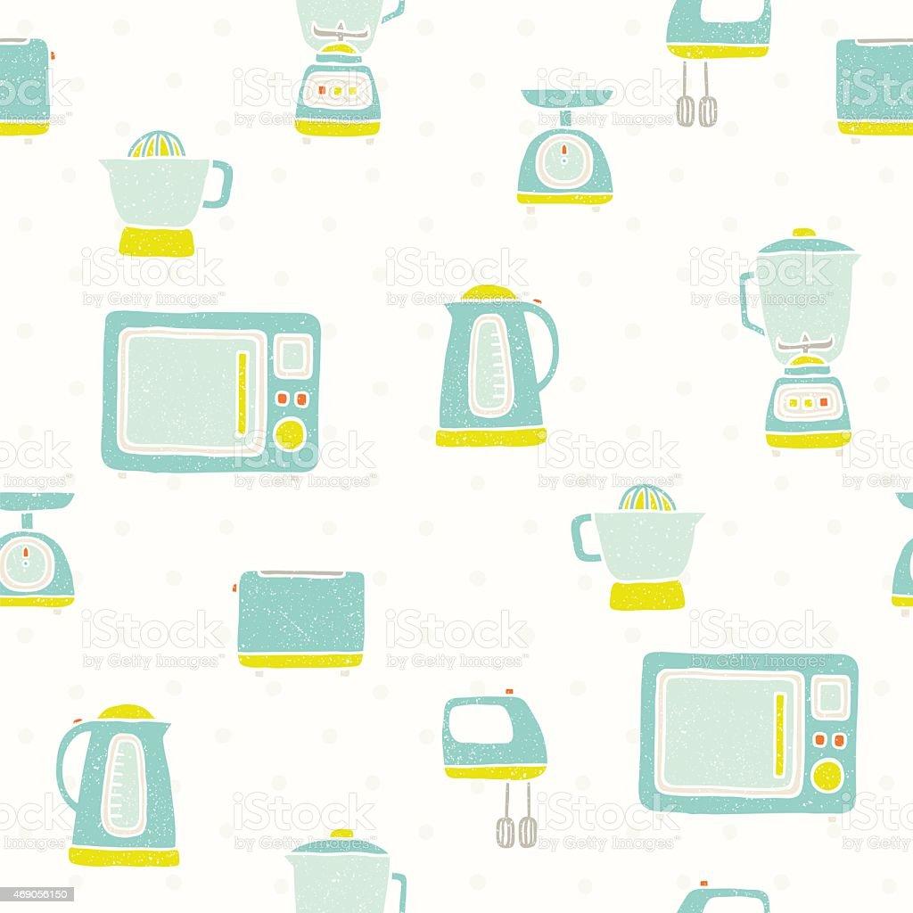 Kitchen appliances pattern vector art illustration