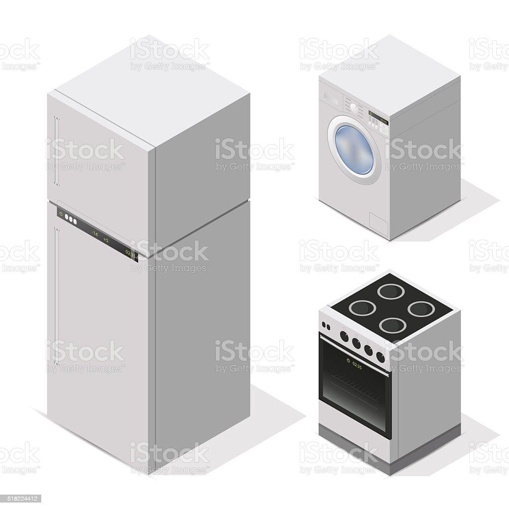 Domestic Kitchen Appliances Kitchen Appliances Set Equipment For The Home Vector Isometric