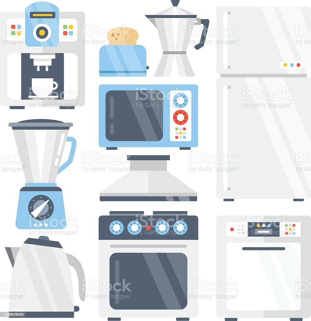 Kitchen Appliances On Credit Kitchen Appliances Set Flat Icons Set Vector Illustration Stock
