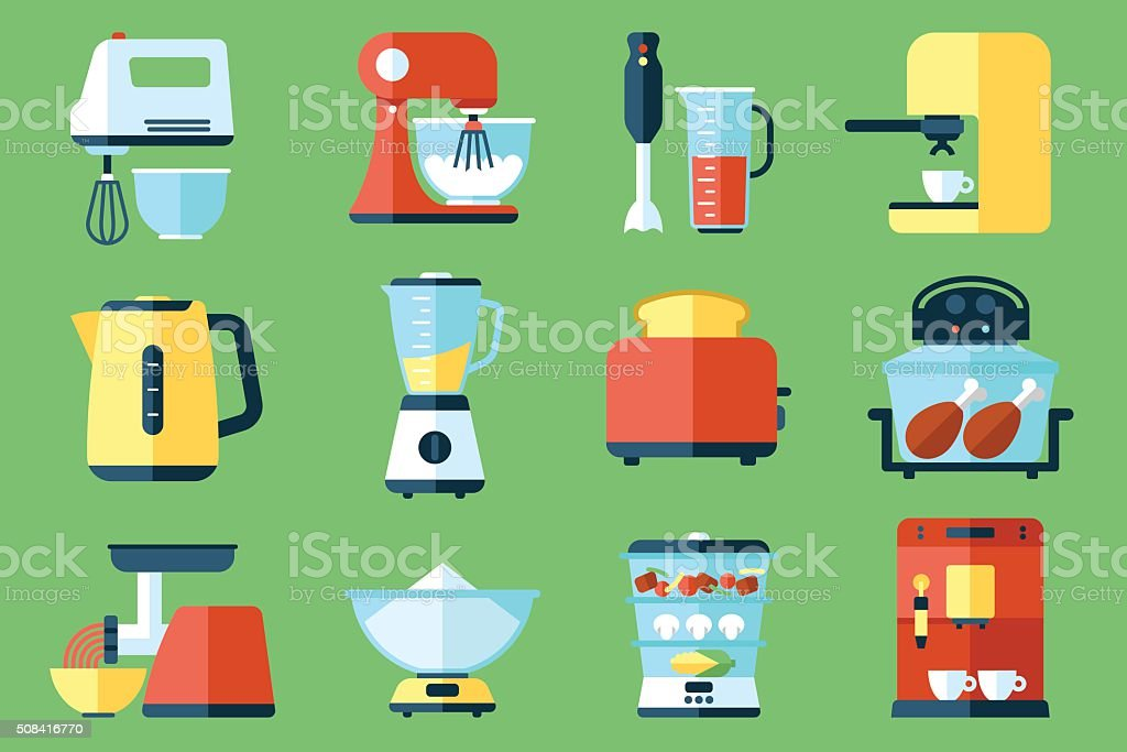 Kitchen appliances vector art illustration