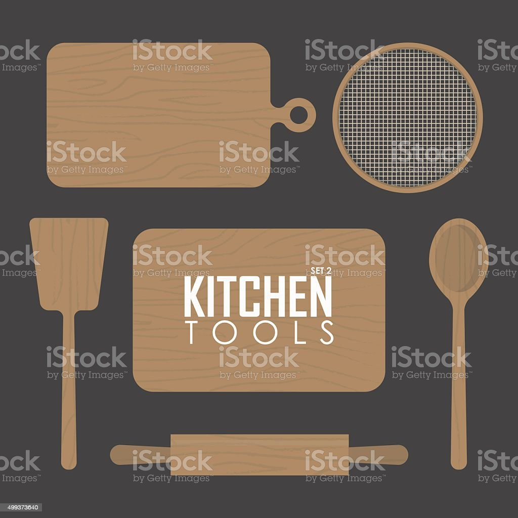 kitchen boards and  wood tool vector art illustration