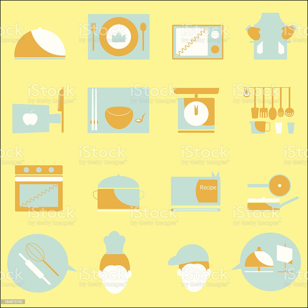 Kitchen color icons on yellow background royalty-free stock vector art