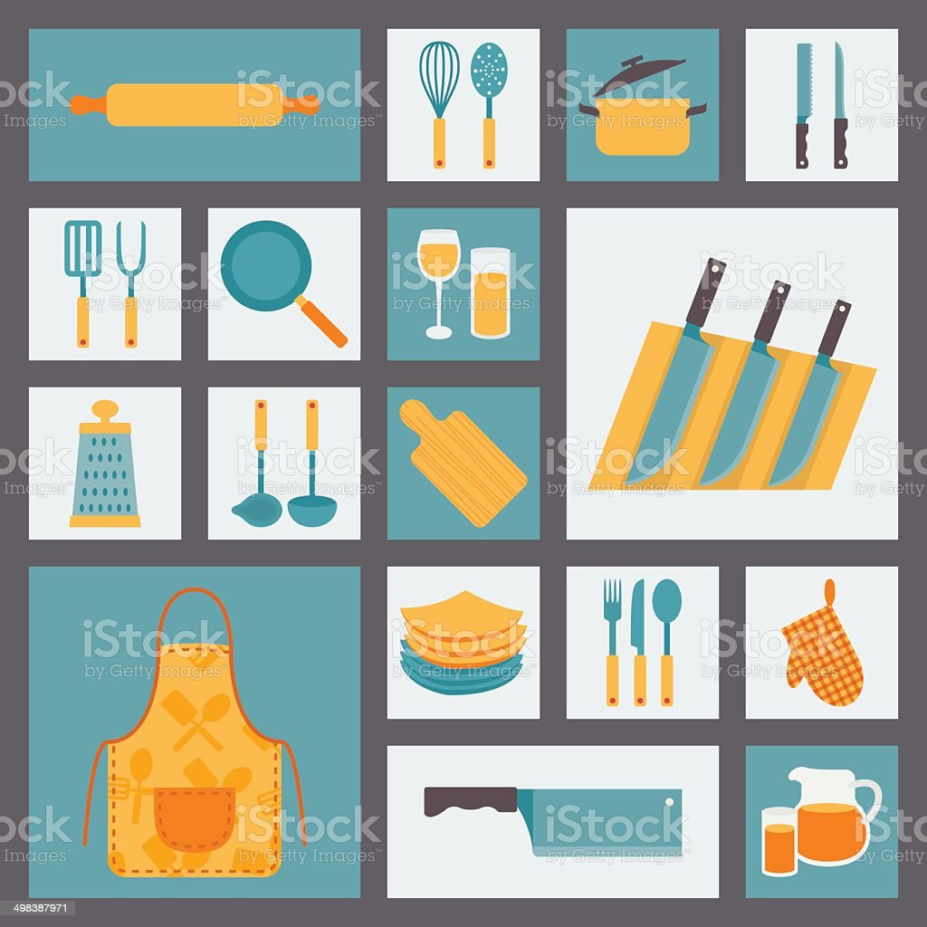 Kitchen cooking icons set, kitchenware and utensils icons. royalty-free stock vector art