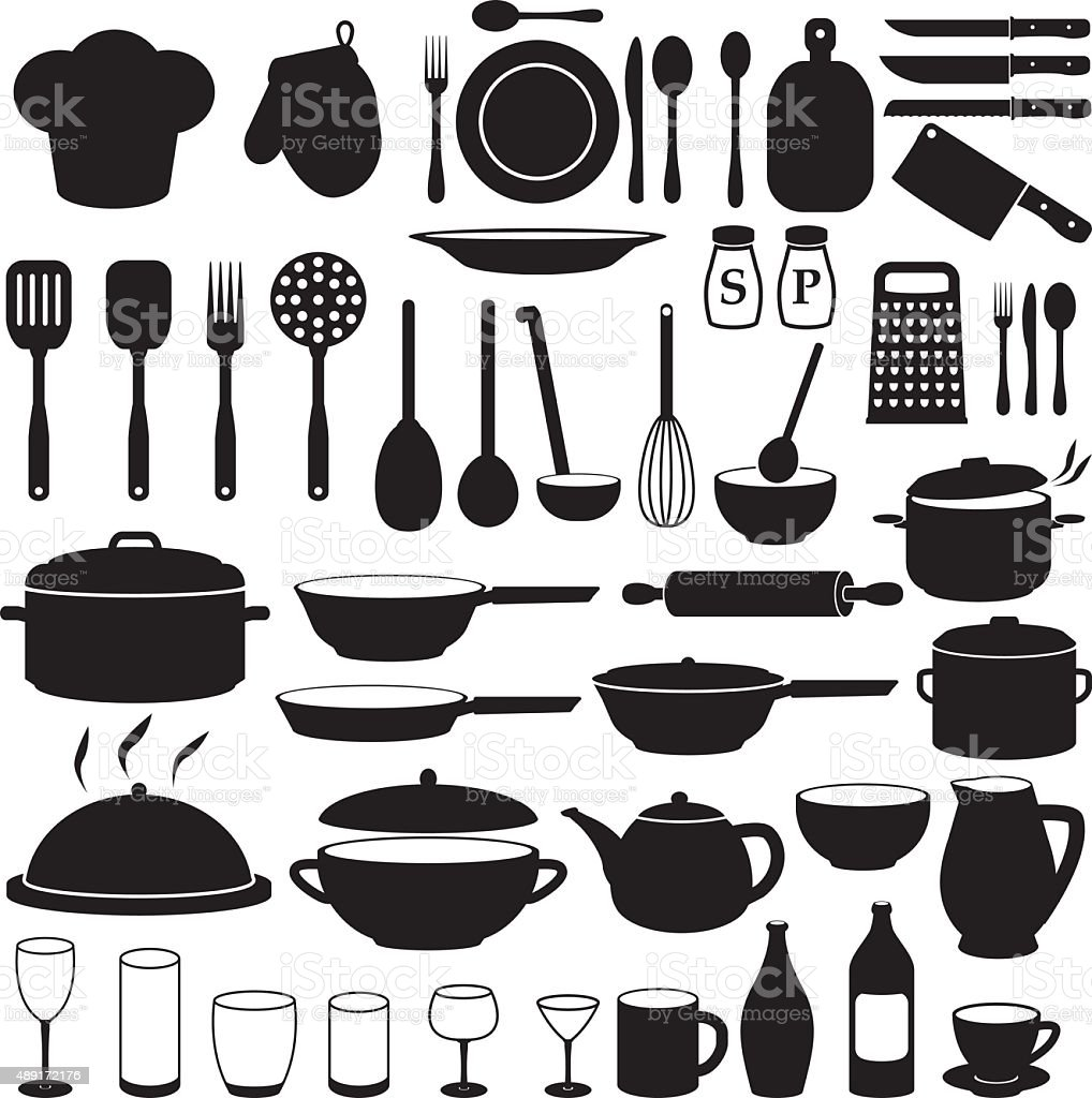 Kitchen cooking icons set stock vector art 489172176 istock for Kitchen set vector