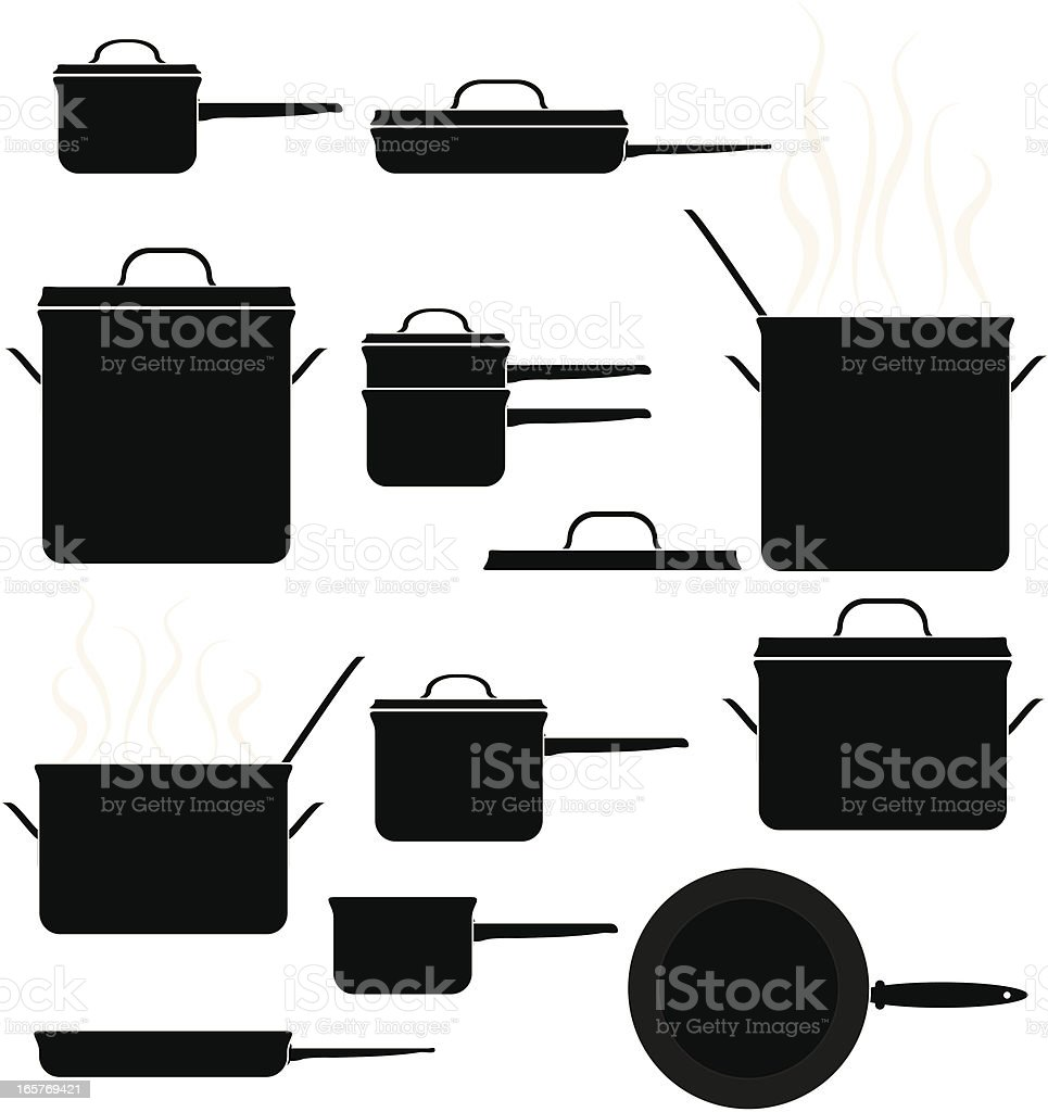 Kitchen Cooking Pots and Pans Set: Black Icons vector art illustration