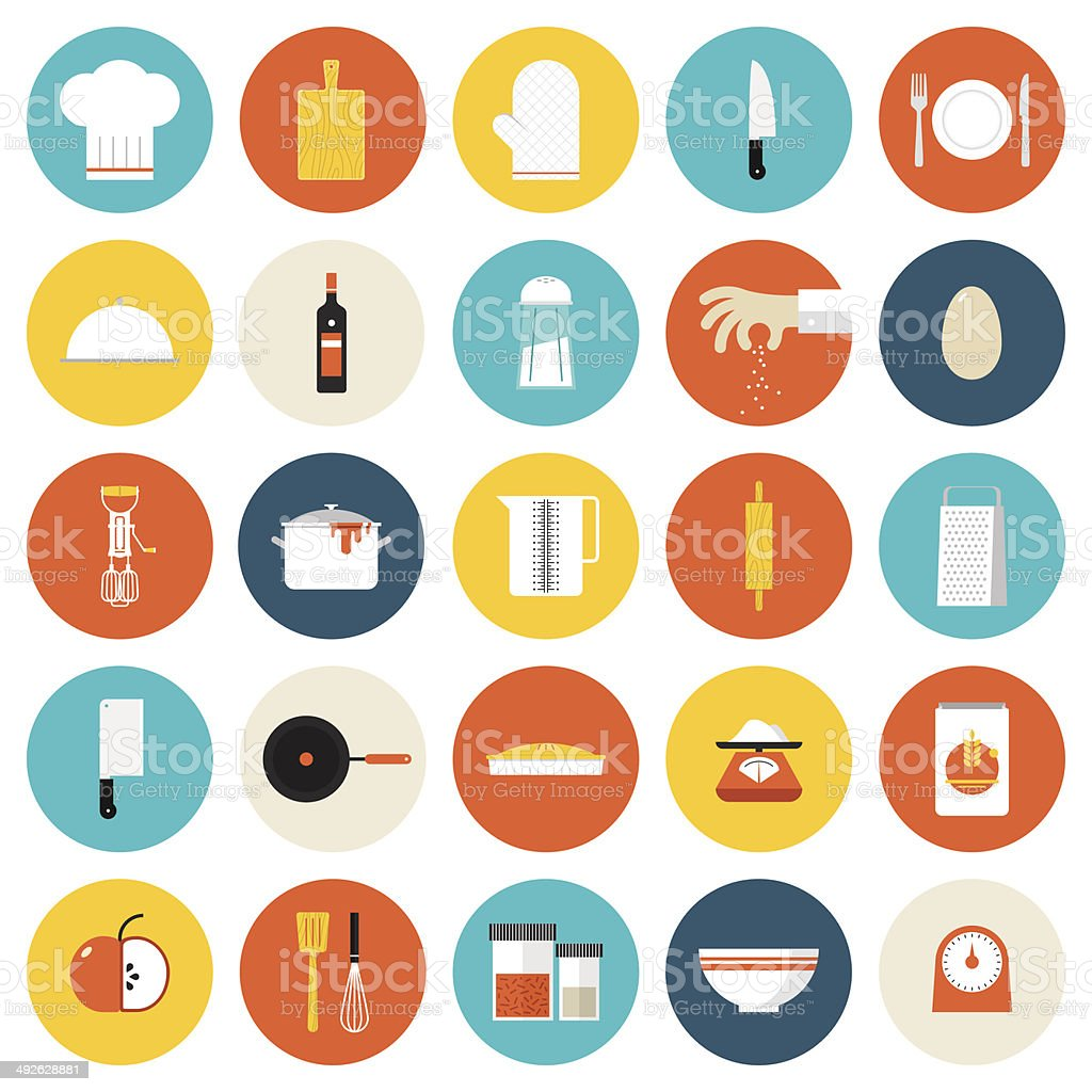 Kitchen cooking tools and utensils flat icons vector art illustration