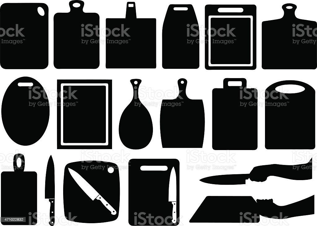 Kitchen cutting boards vector art illustration