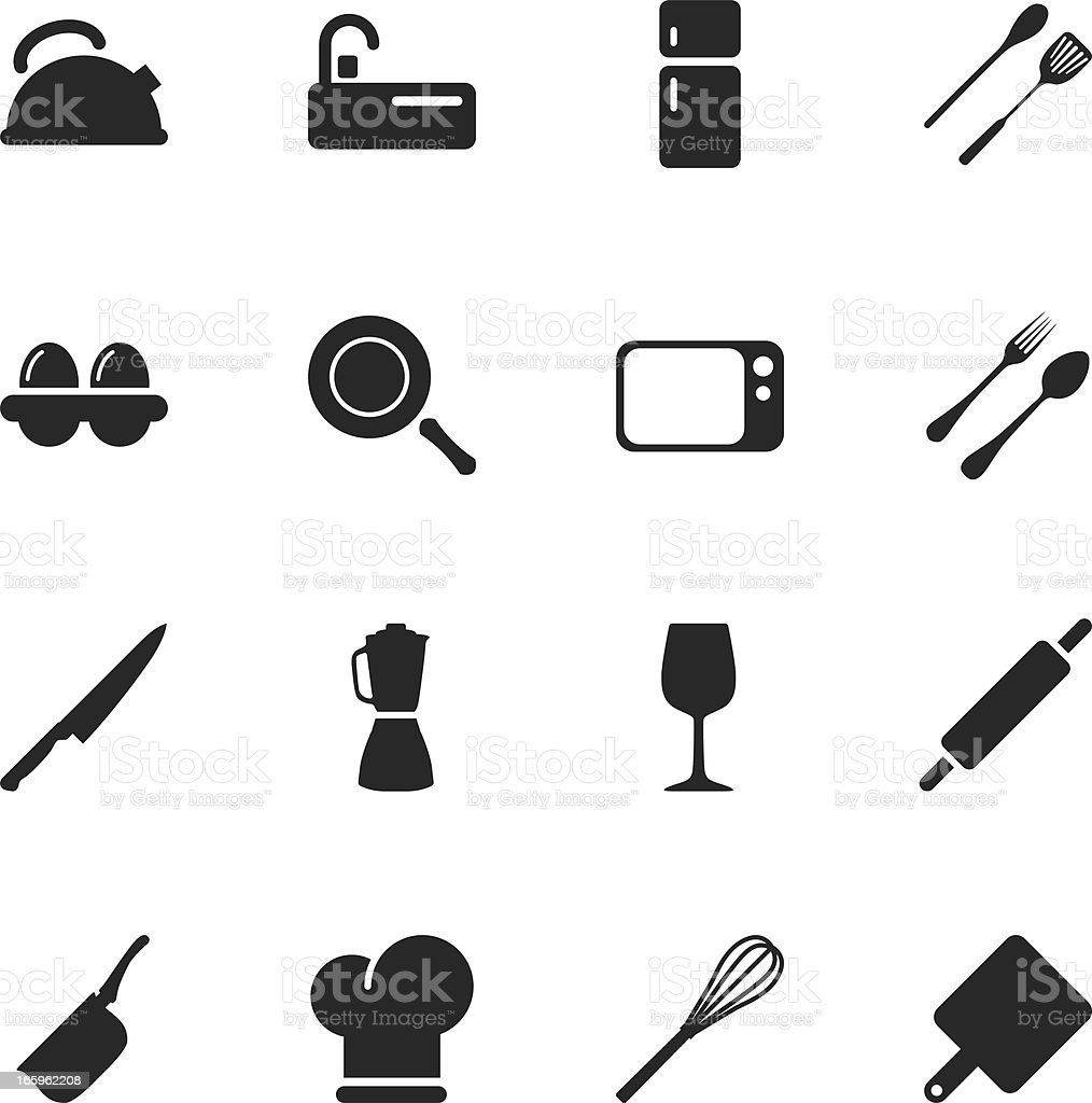 Kitchen Design Silhouette Icons royalty-free stock vector art
