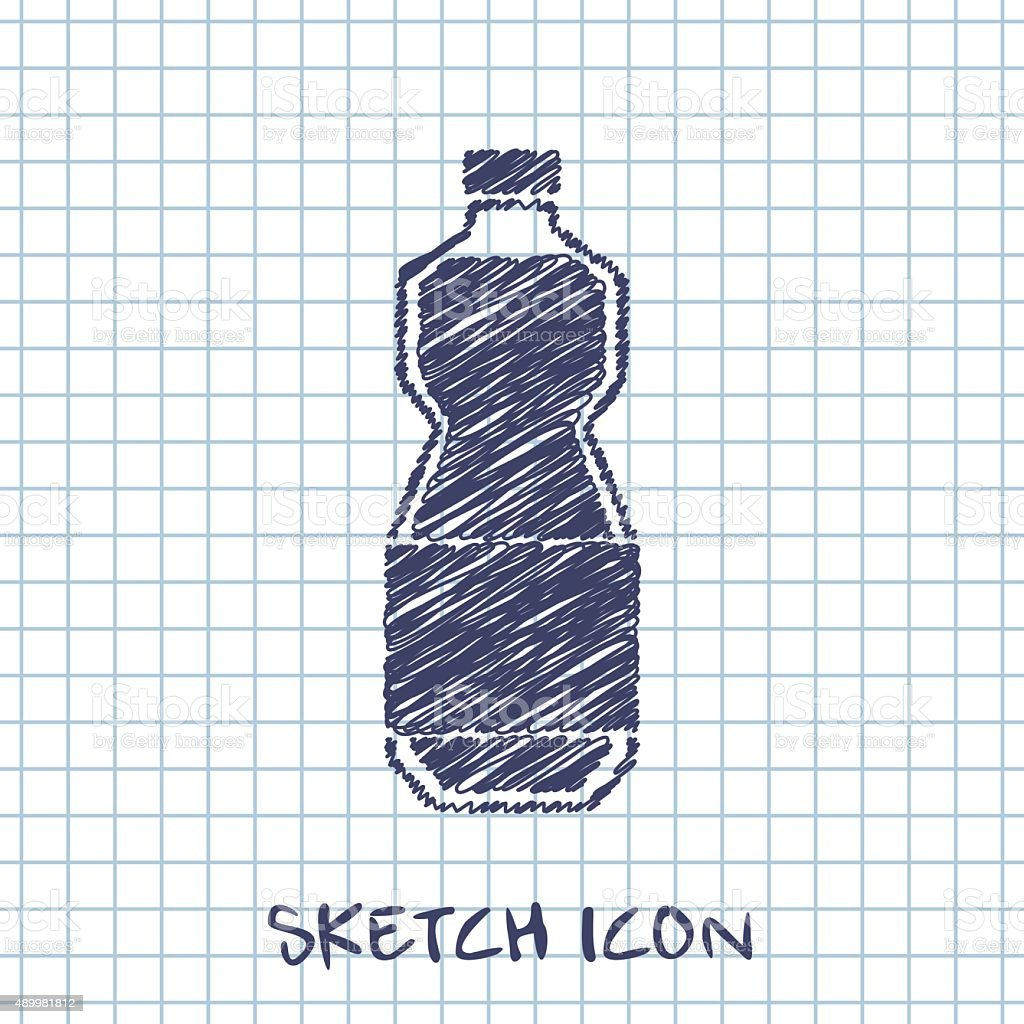 kitchen doodle sketch icon of oil bottle vector art illustration