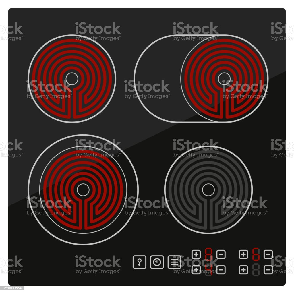 Kitchen Electric hob with ceramic surface and touch control panel vector art illustration