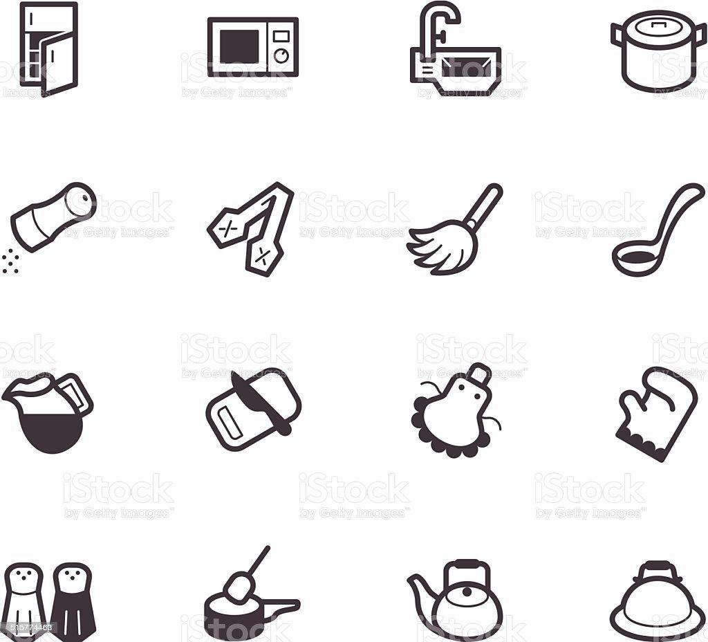 kitchen element vector black icon set on white background vector art illustration