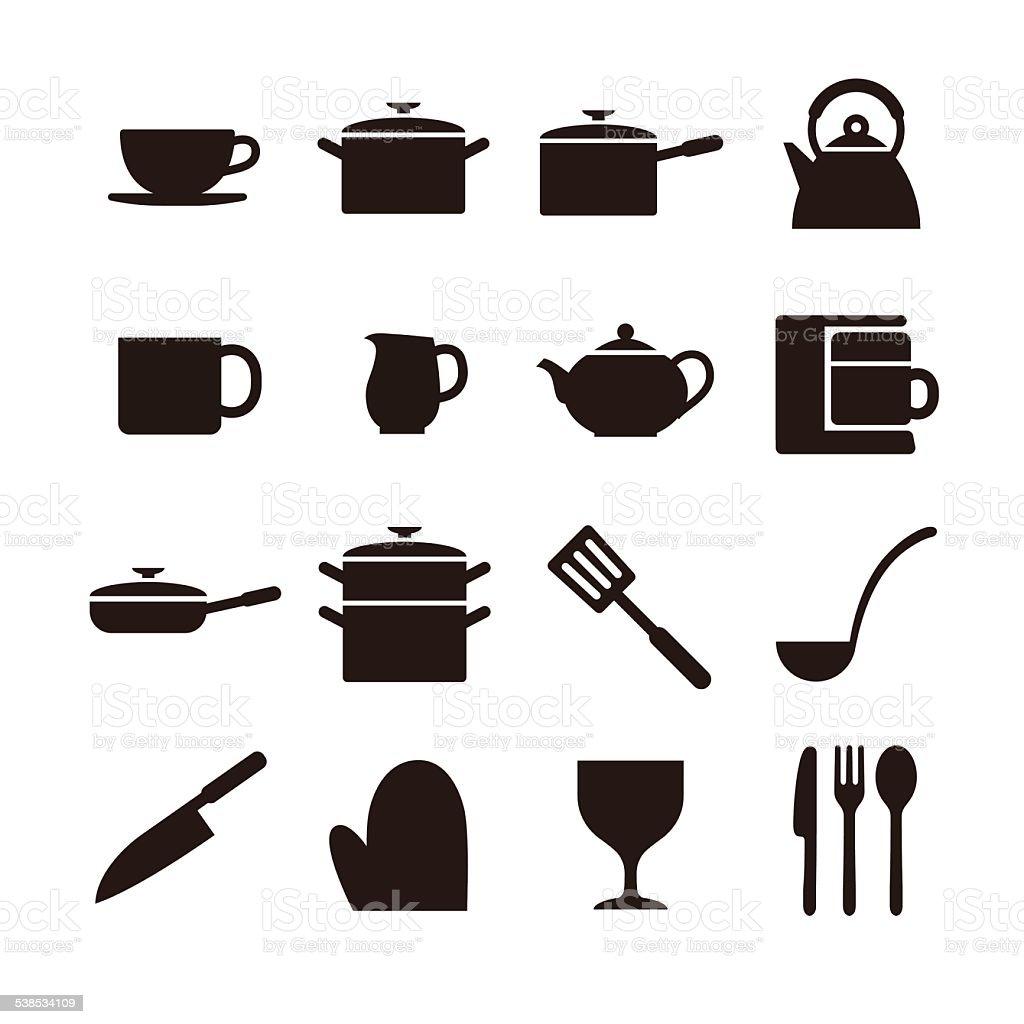 Kitchen elements icon vector art illustration