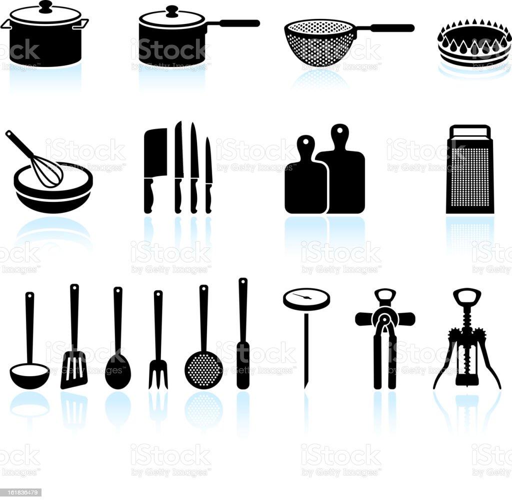Kitchen Equipment black and white royalty free vector art vector art illustration