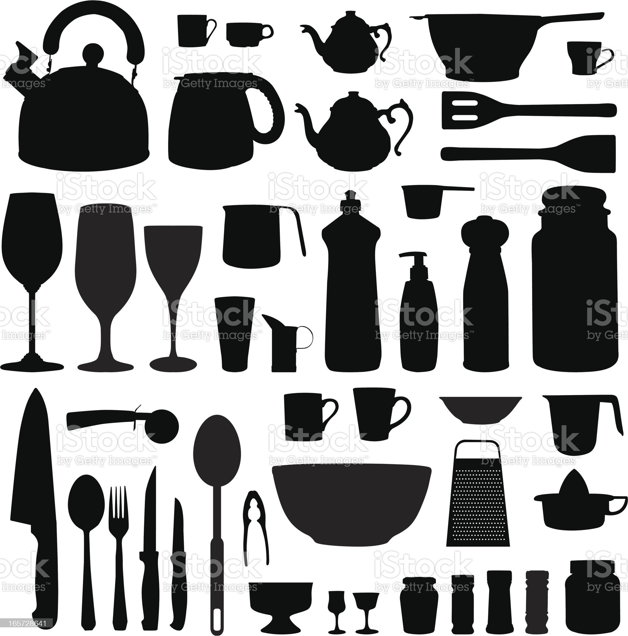Kitchen equipment silhouettes set royalty-free stock vector art