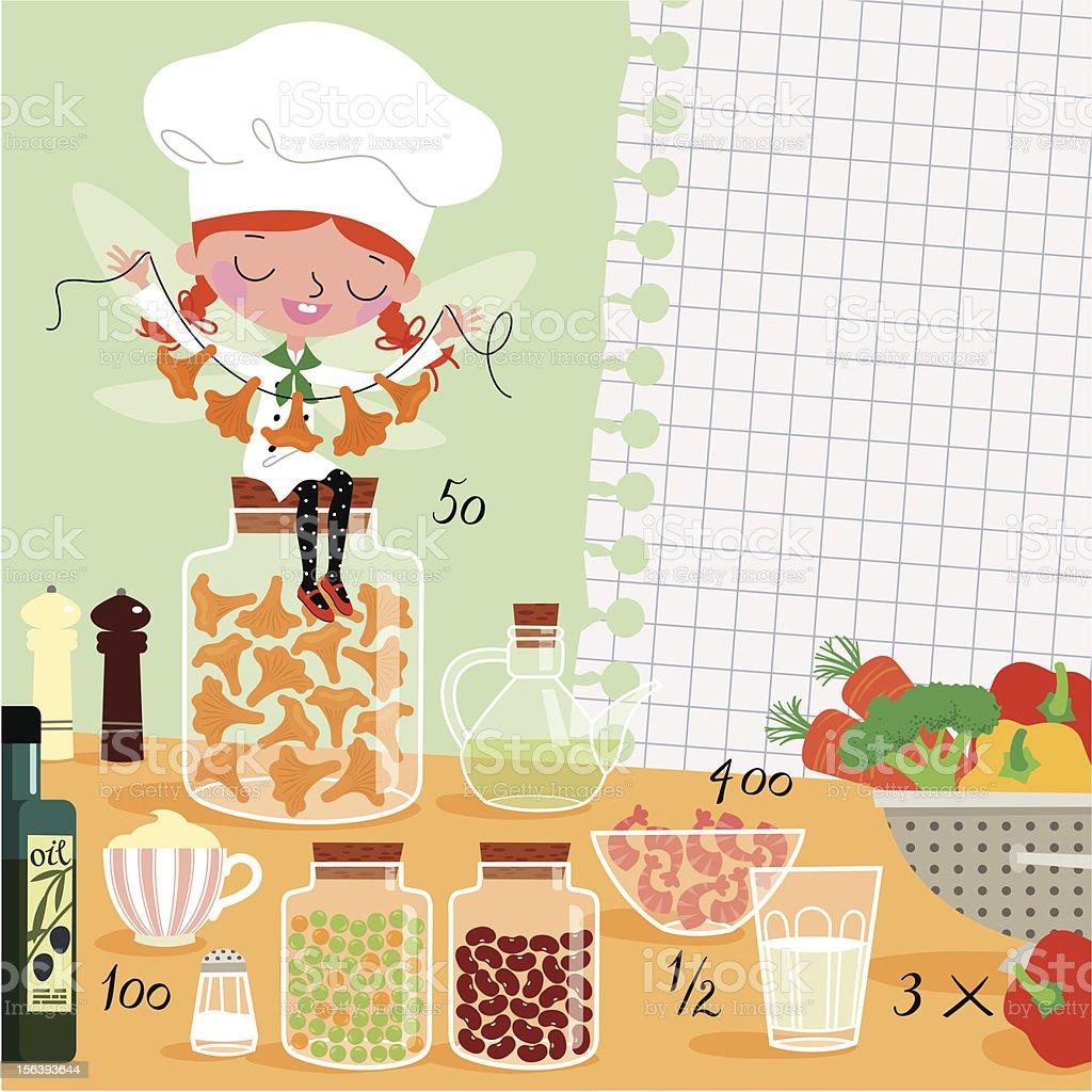 Kitchen Fairy vector art illustration