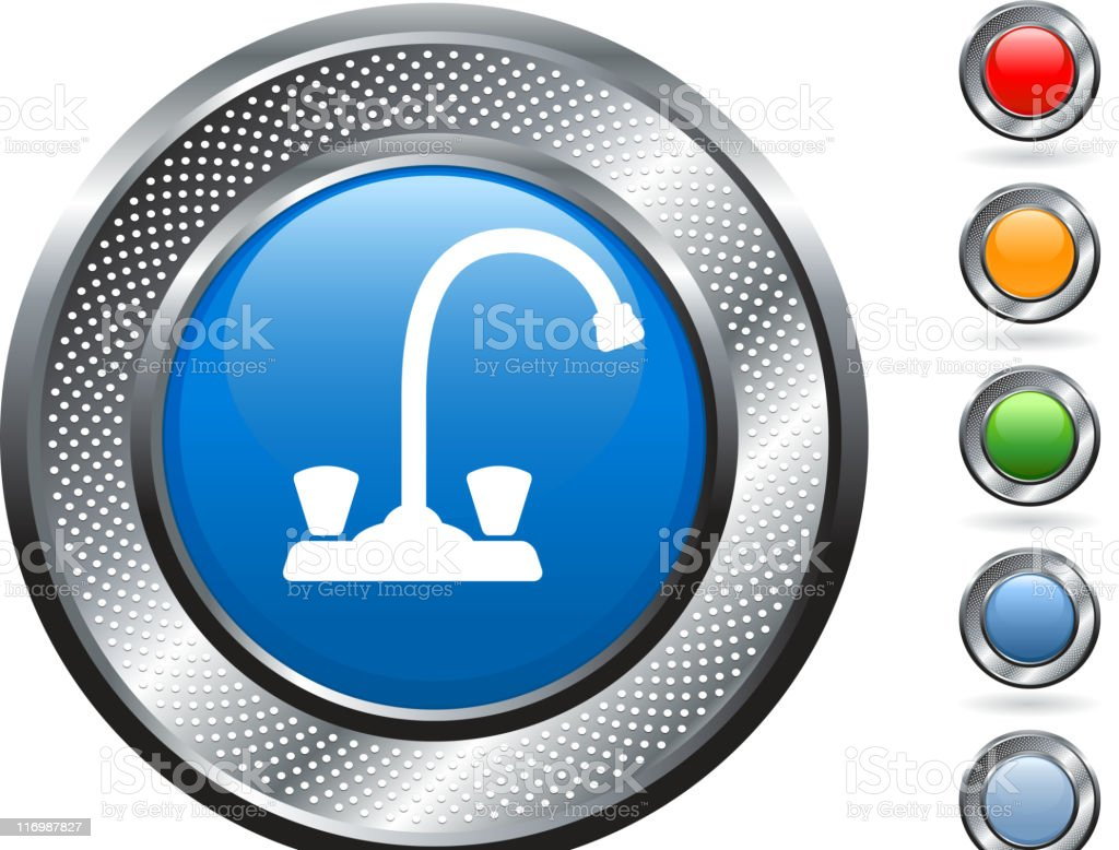 kitchen faucet royalty free vector art on metallic button royalty-free stock vector art