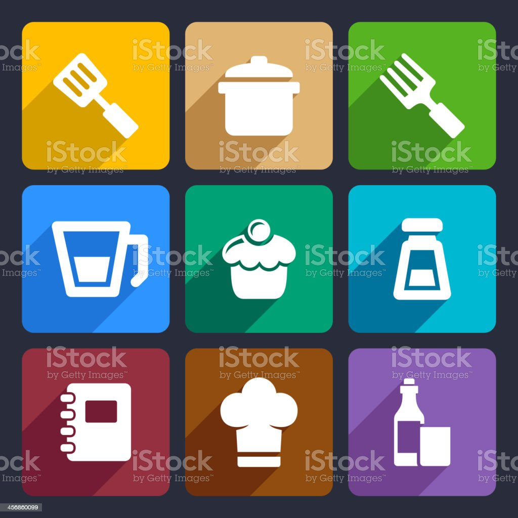 Kitchen flat icons set 24 royalty-free stock vector art