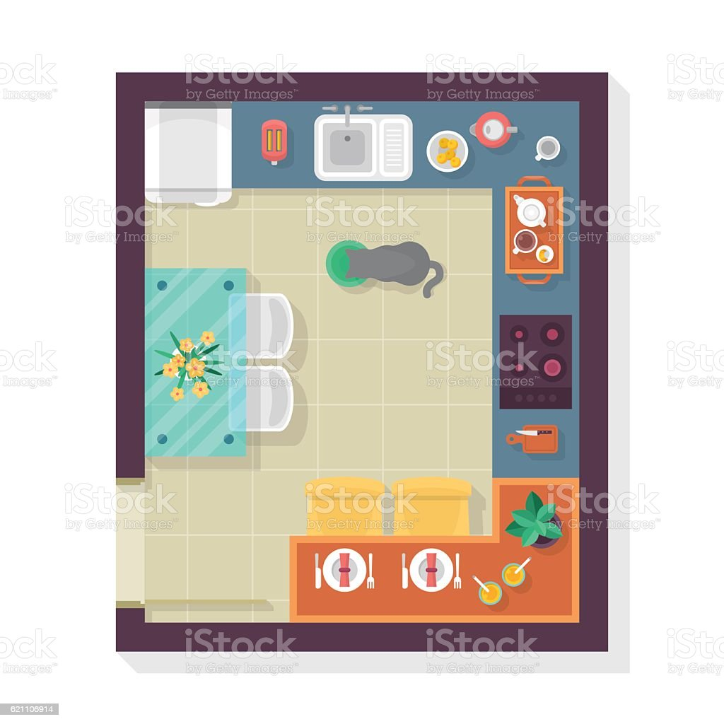 Isolated Vector Kitchen Floor Plan Top View Furniture Set For Interior Design
