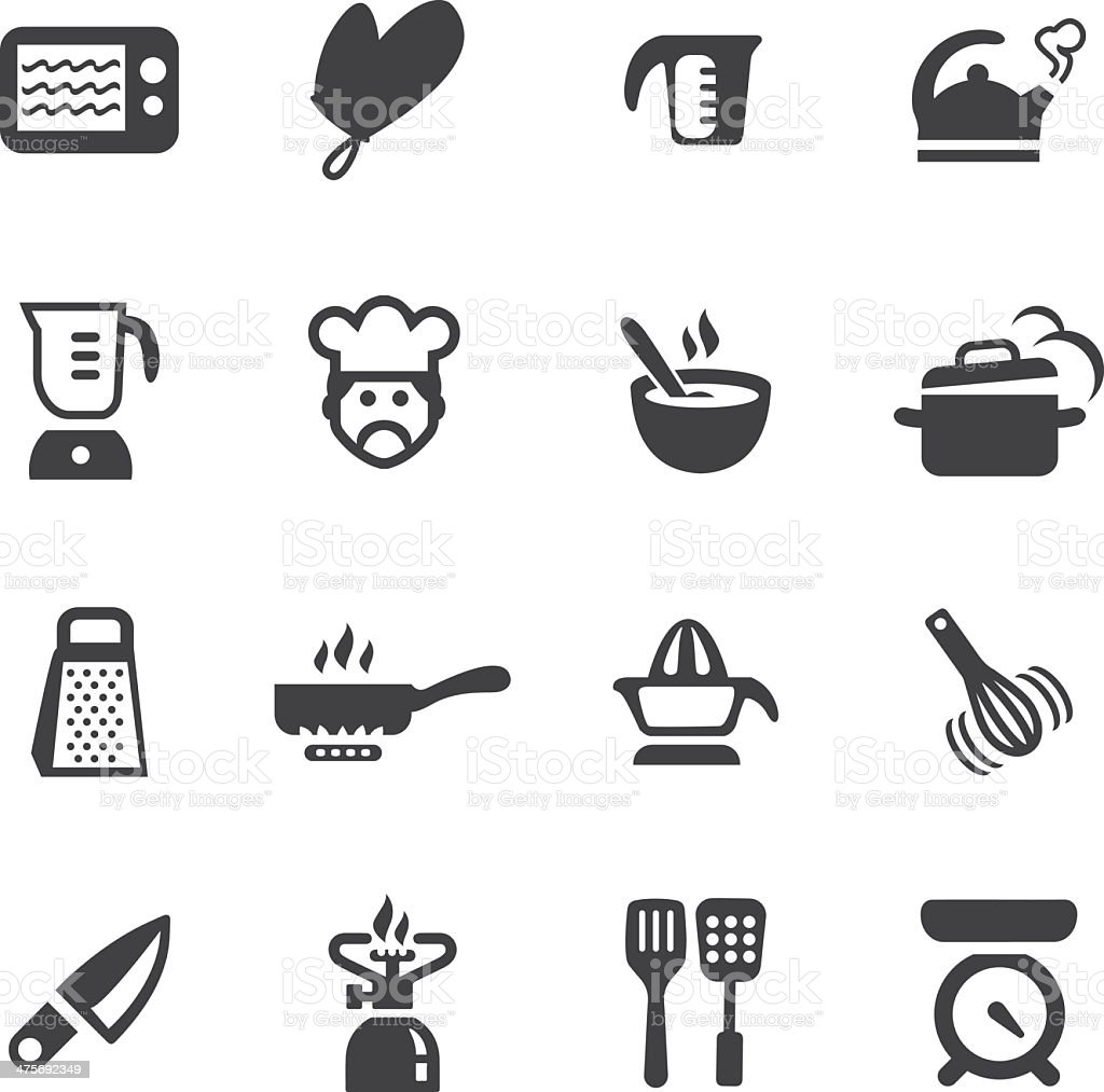 Kitchen Fun Silhouette icons 1 vector art illustration