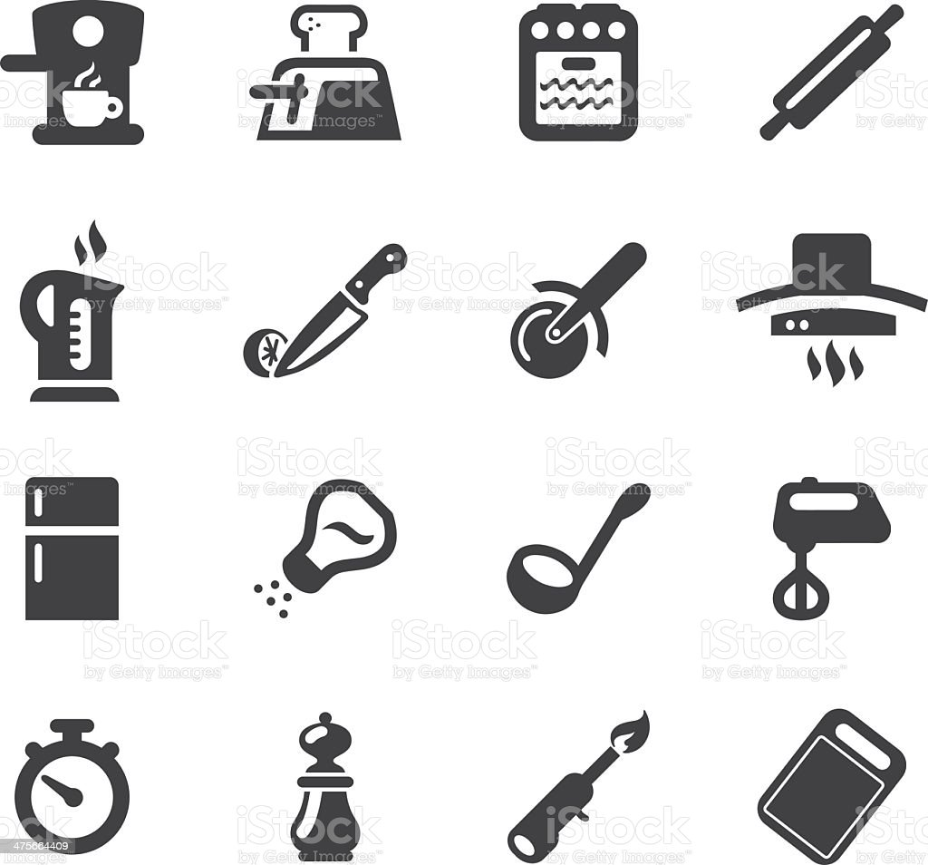 Kitchen Fun Silhouette icons 2 vector art illustration