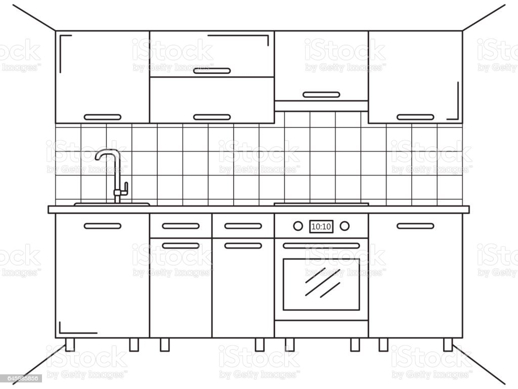 Line Drawing Kitchen : Kitchen furniture sketch in line style vector illustration