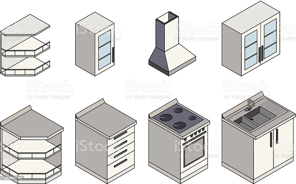Kitchen furnitures Isometric royalty-free stock vector art