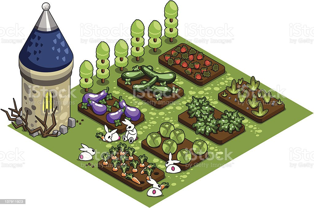 Kitchen garden with bunny family royalty-free stock vector art