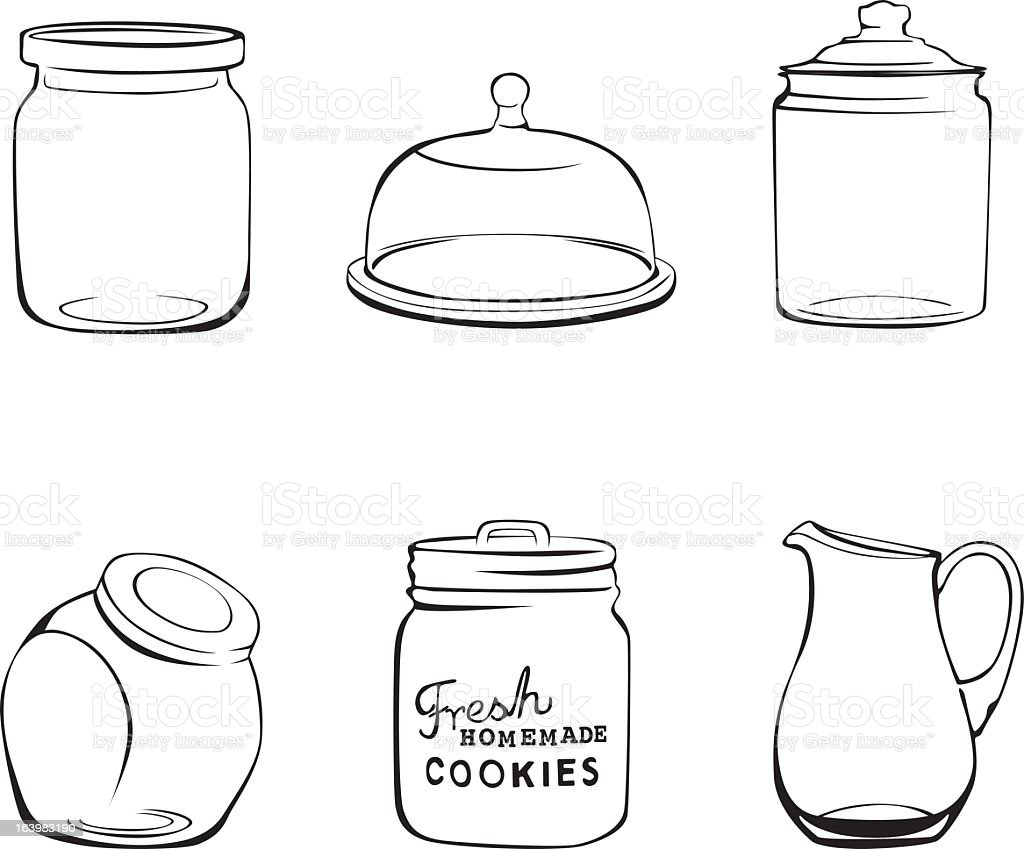 Kitchen glassware jars, pitcher and glass dome vector art illustration