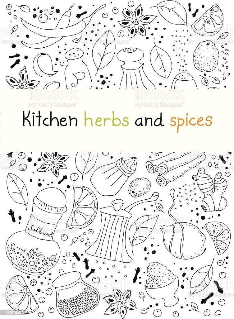 Kitchen herbs and spices doodle background royalty-free stock vector art