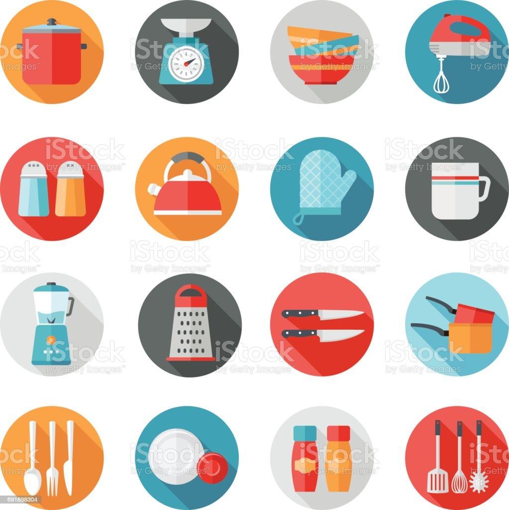 Kitchen Icons - Circles vector art illustration