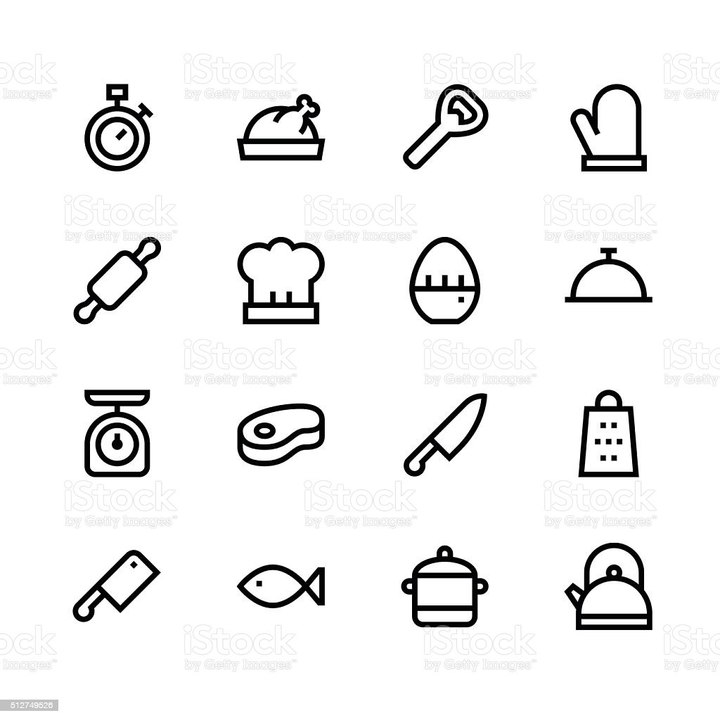 Kitchen icons - line - black series vector art illustration