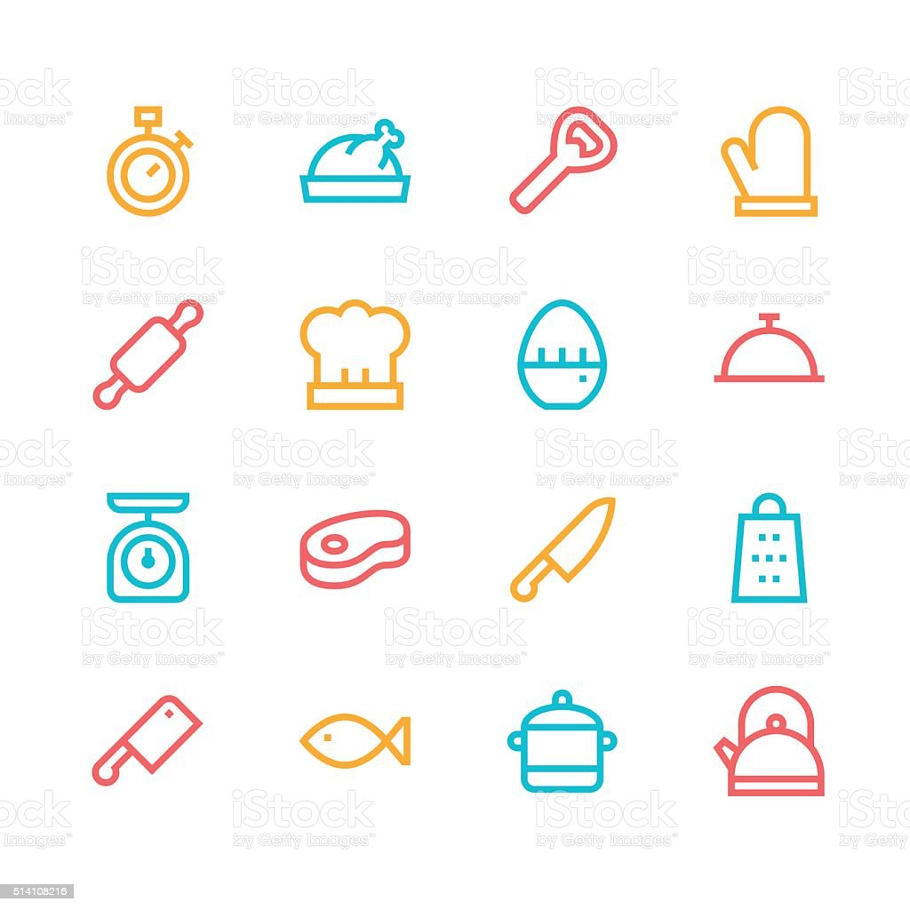 Kitchen icons - line - color series vector art illustration