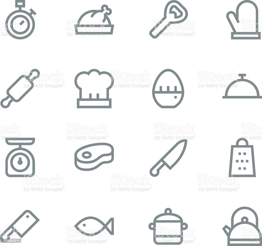 Kitchen icons - line vector art illustration
