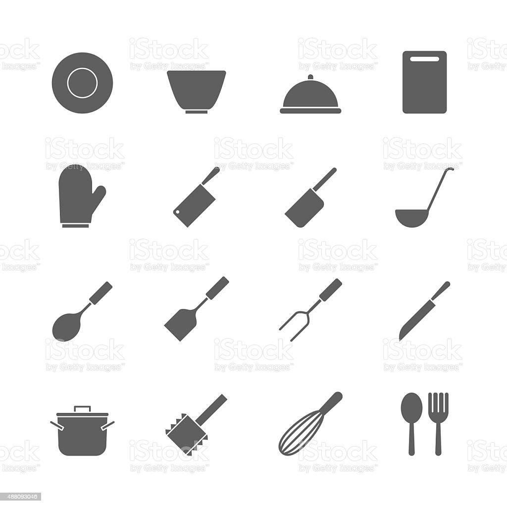 kitchen  icons set vector art illustration