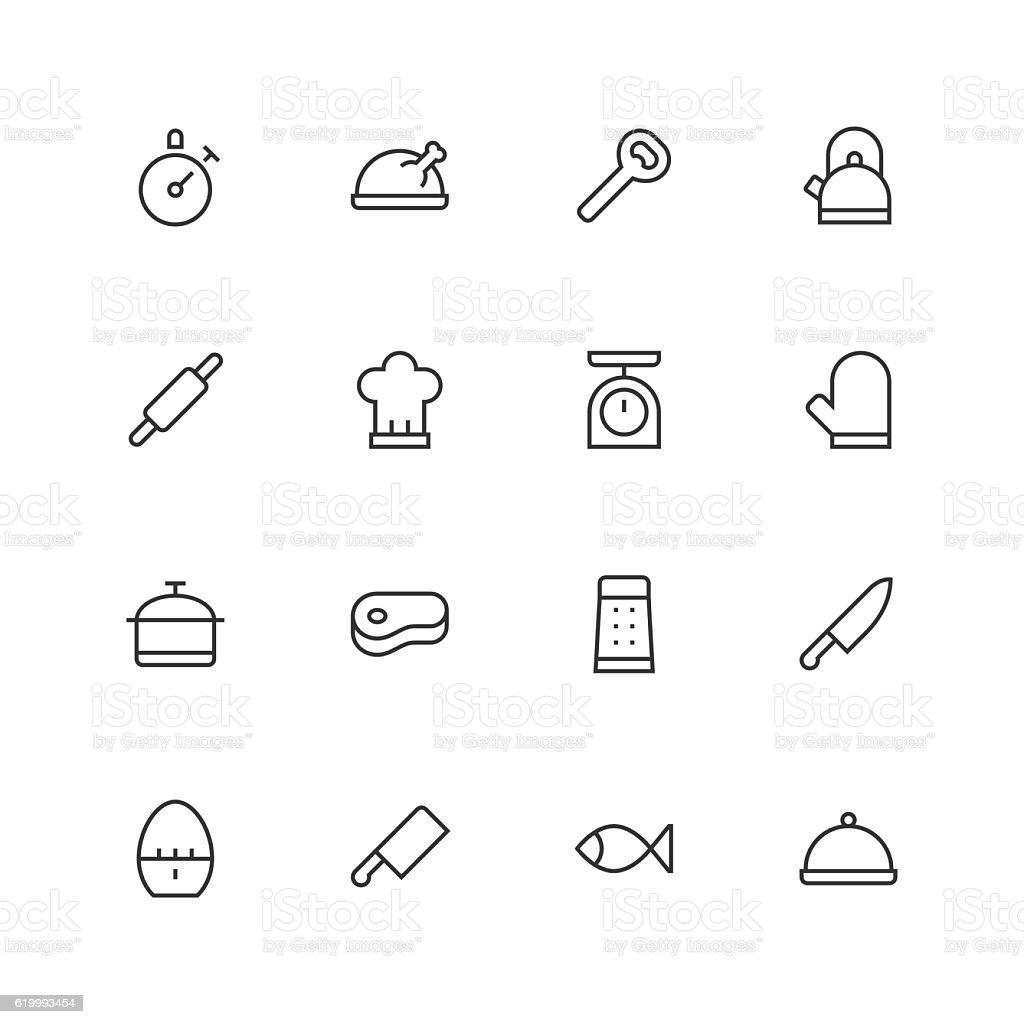 Kitchen Icons - Unique - Line Series vector art illustration