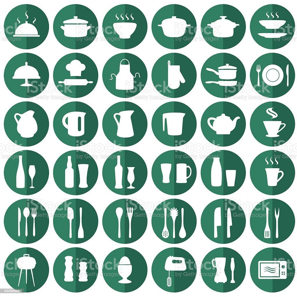 kitchen icons vector art illustration