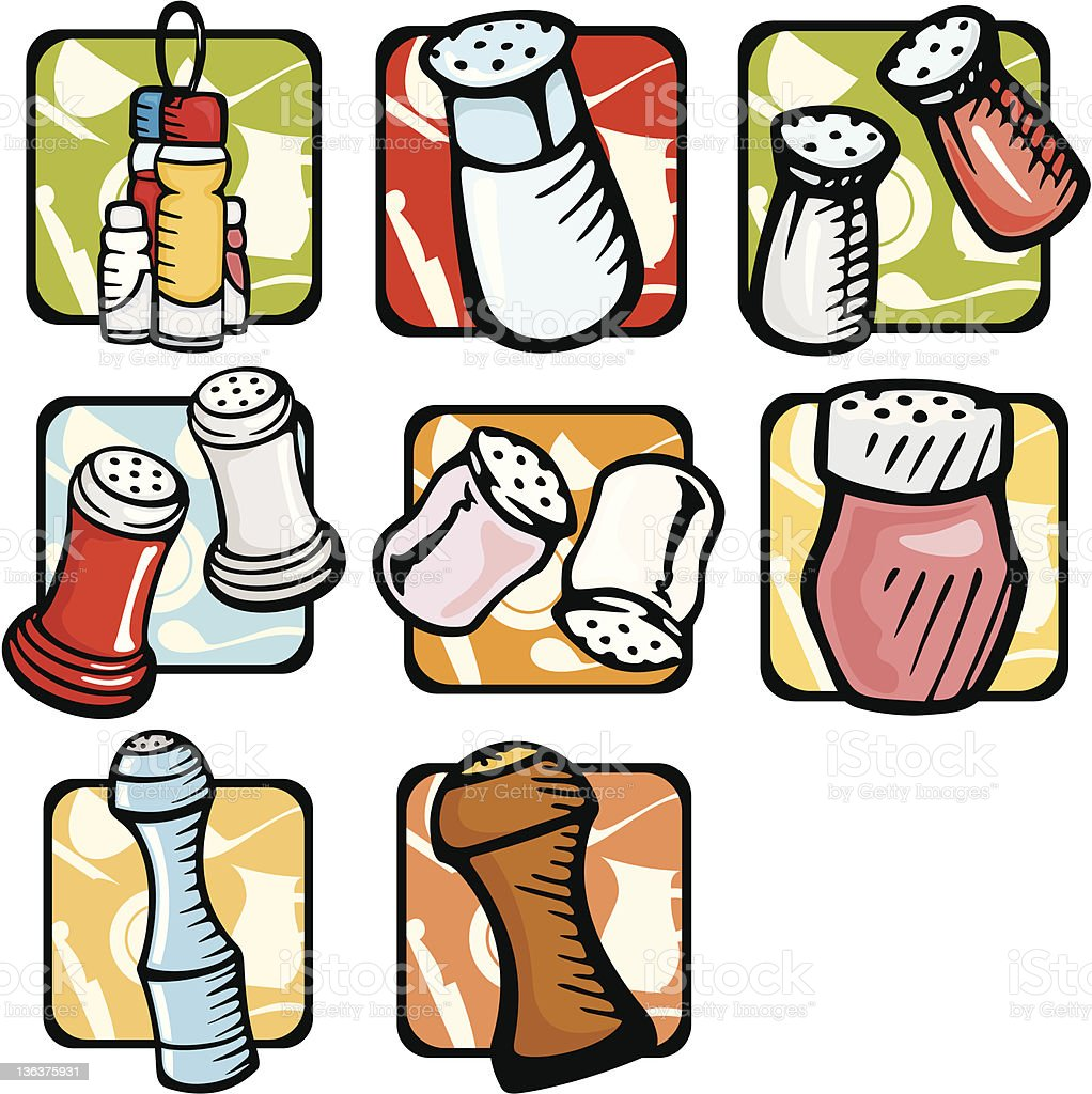 Kitchen Illustrations: Salt and Pepper Grinders (Vector) royalty-free stock vector art