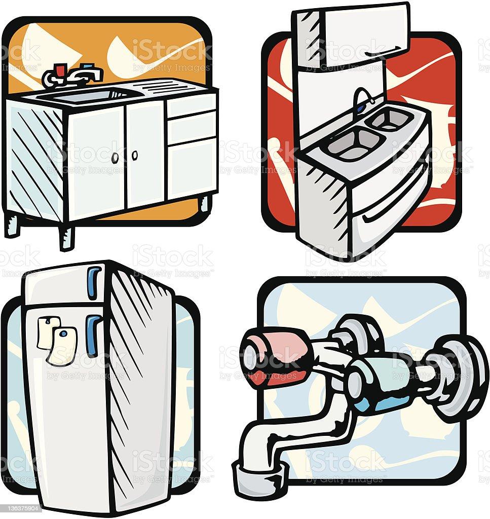 Kitchen Illustrations: Sinks & Refrigerator (Vector) royalty-free stock vector art